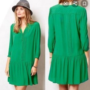 Anthropologie Maeve green Galina mini dress